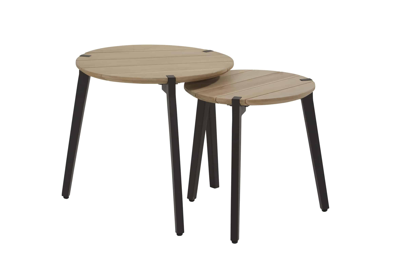 Glazen Salontafel Met Aluminium Poten.Gabor Side Table Set Van 2 Teak Top Aluminium Poten Frits Wolf
