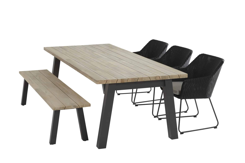 Avila dining + Derby teak tafel + Derby bank