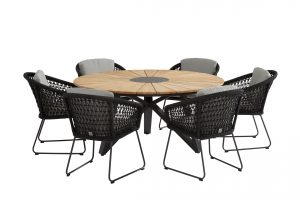 213393 19620 Mila Dining Set With Global Teak Dining Table Sunrise 160cm