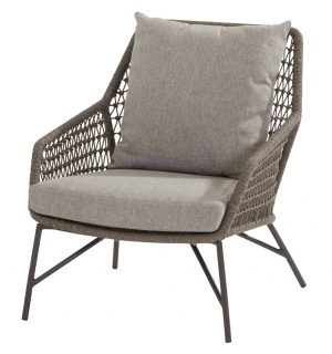 213538 Babylon Living Chair Mid Grey Knotted With 2 Cushions 01