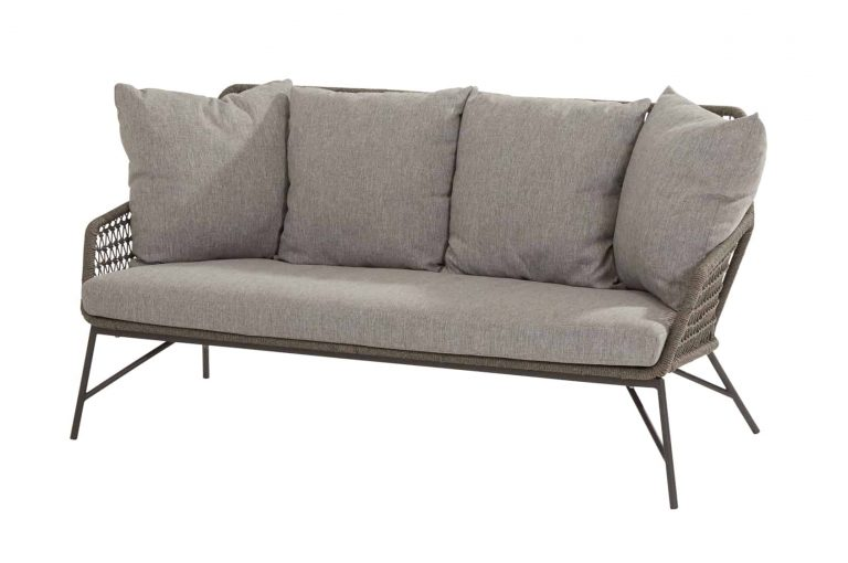 213539 Babylon Living Bench 2.5 Seaters Mid Grey Knotted With 5 Cushions