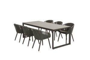 90804 91061 Sorrento Dining With Heritage Ceramic Table Matt Carbon 01