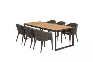 90807 91064 Portobello Dining With Heritage Teak Table Matt Carbon 01