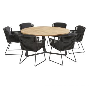 91120 91079 91080 Vitali Anthracite Dining Set With Round Basso Table 160 Cm