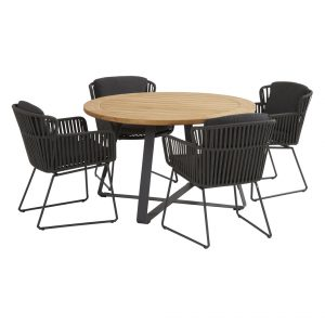 91120 91150 91151 Vitali Anthracite Dining Set With Basso Table 130 Cm