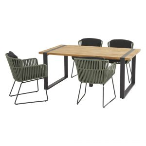 91121 91148 91082 Vitali Green Dining Set With Alto Table 180x100 Cm 2