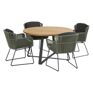 91121 91150 91151 Vitali Green Dining Set With Basso Table 130 Cm