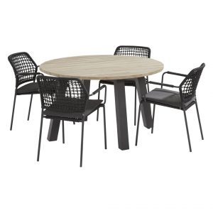 91122 90413A 90415 Barista Anthracite Dining Set With Round Derby Table 130 Cm