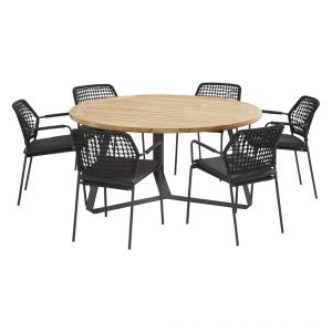 91122 91079 91080 Barista Anthracite Dining Set With Round Basso Table 160 Cm