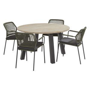 91123 90413A 90415 Barista Green Dining Set With Round Derby Table 130 Cm