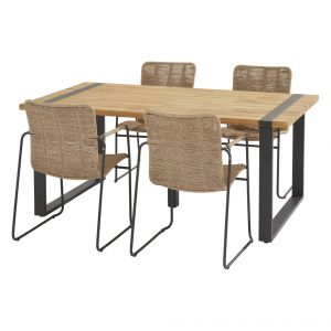 91141 91148 91082 Palma Natural Dining Set With Alto Table 180x100 Cm