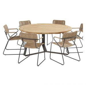 91143 91079 91080 Swing Natural Dining Set With Round Basso Table 160 Cm
