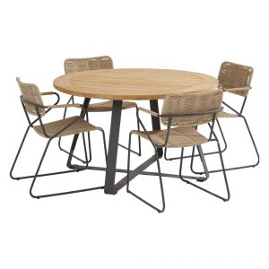 91143 91150 91151 Swing Natural Dining Set With Round Basso Table 130 Cm