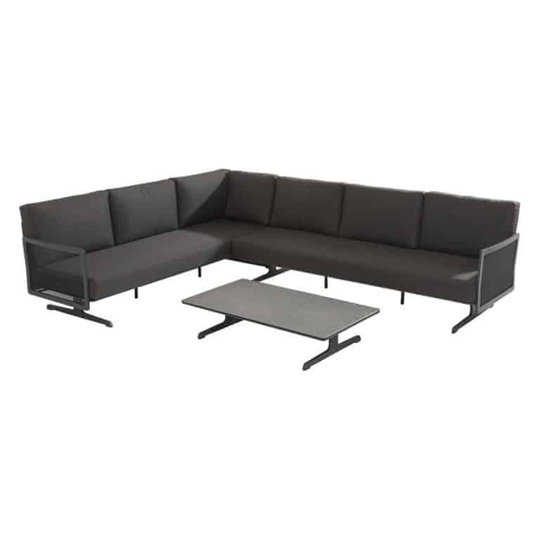 91152 91153 Sunray Modular Alu Mesh Complete Corner Set With Rectangular Ceramic Table