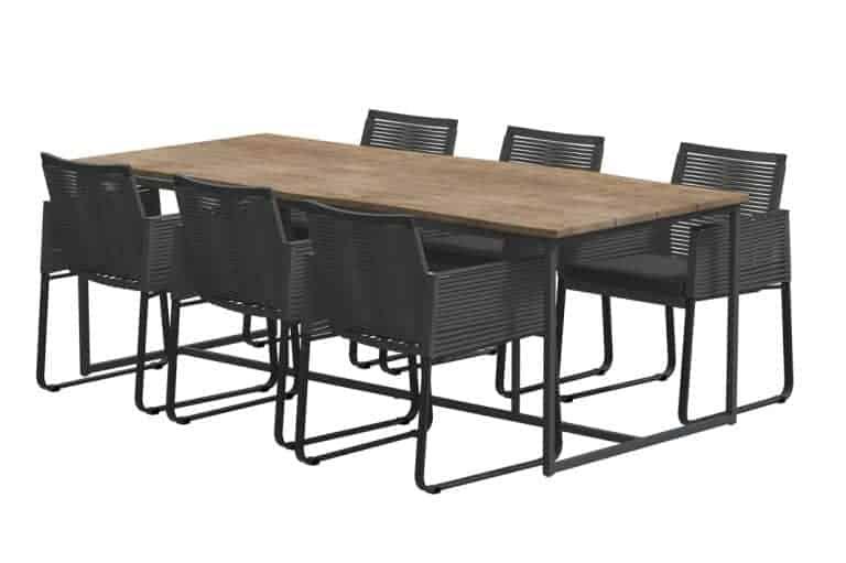 Ortea Dining Set Quatro Robusto Teak Top 220x95cm